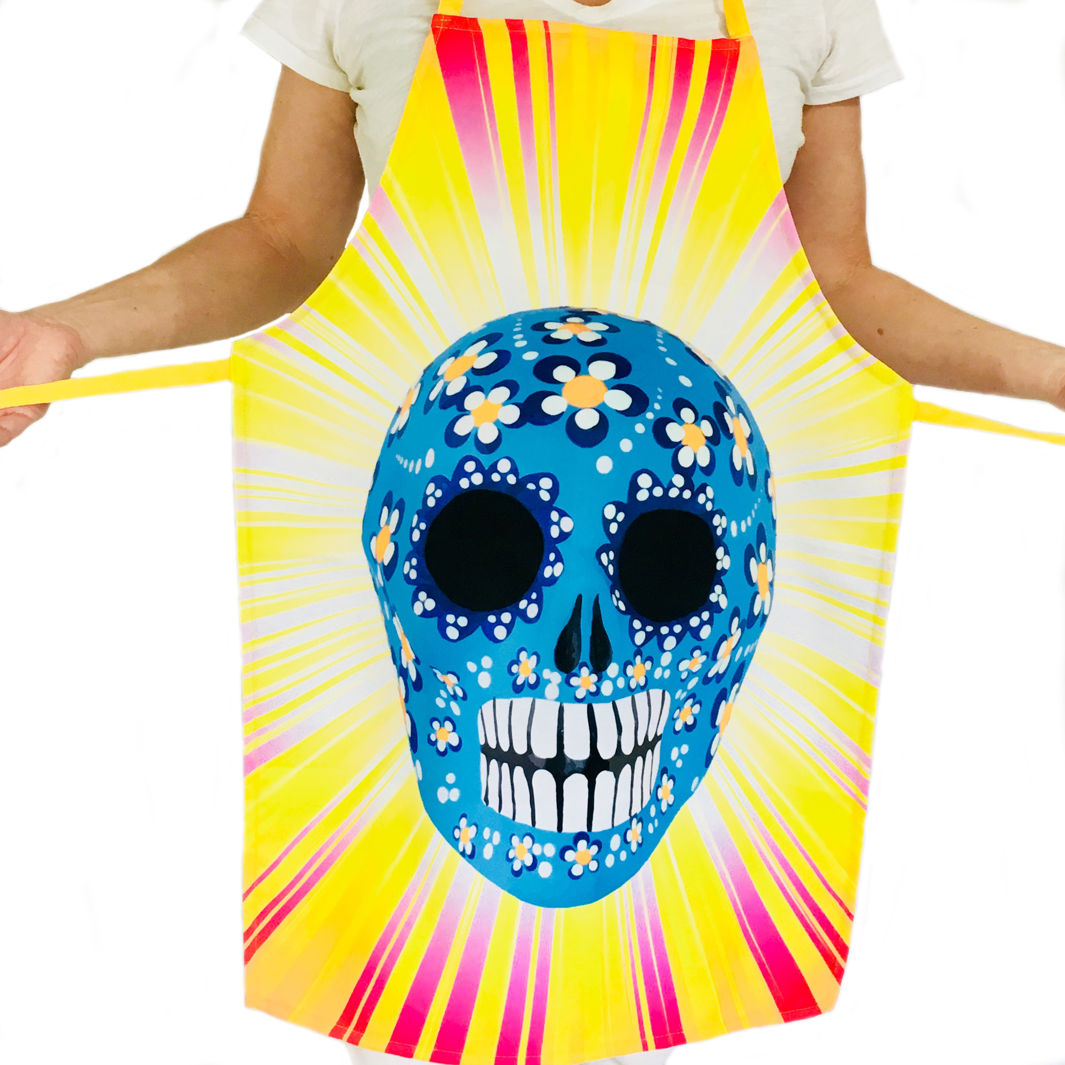 Yellow Kitchen Apron for Women and Men with Blue Sugar Skull ...