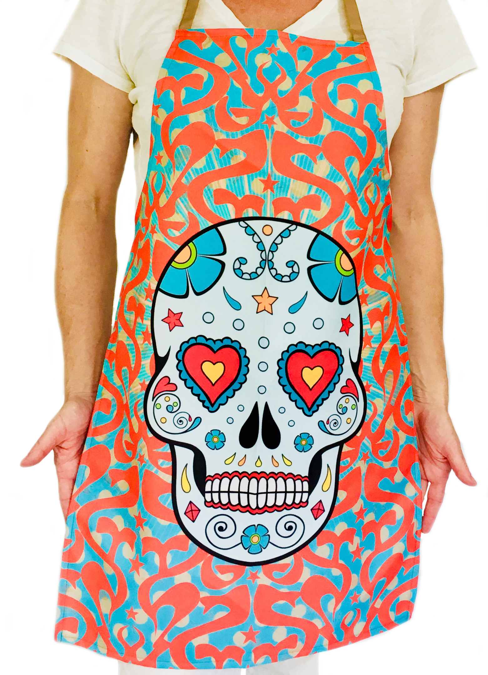 Funky Fresh Red Sugar Skull Kitchen Apron for Women and Men - TexMex ...
