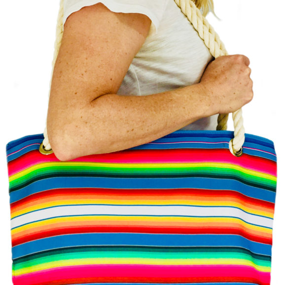 Mexican Serape Print Lined Handbag/Tote Bag with Thick Cotton Rope Shoulder Straps and Feaux Leather Bottom