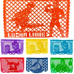 Lucha Libre papel picado flags handmade in Mexico.
