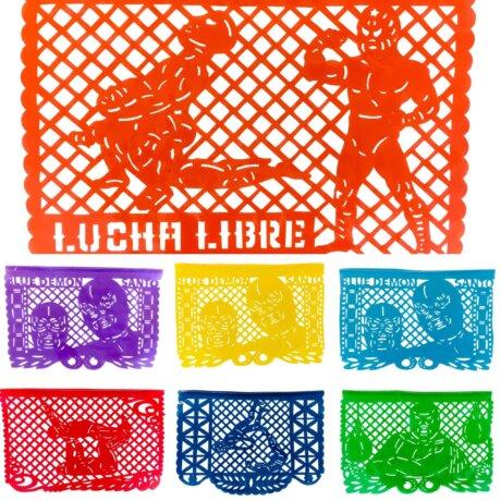 Lucha Libre papel picado flags handmade in Mexico.
