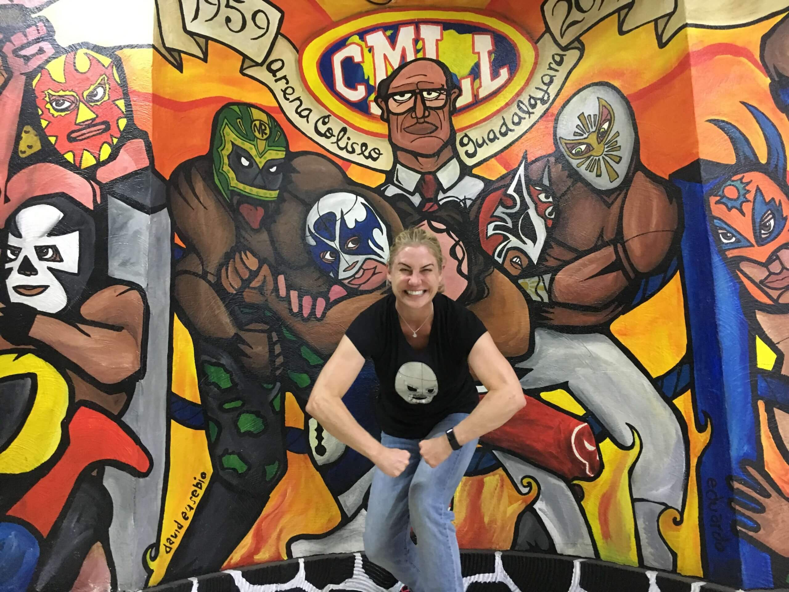 Allison Nevins in her Santo shirt at lucha libre.