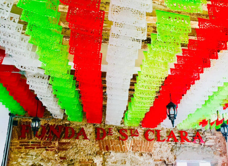 Papel picado in a restaurant in Puebla city.
