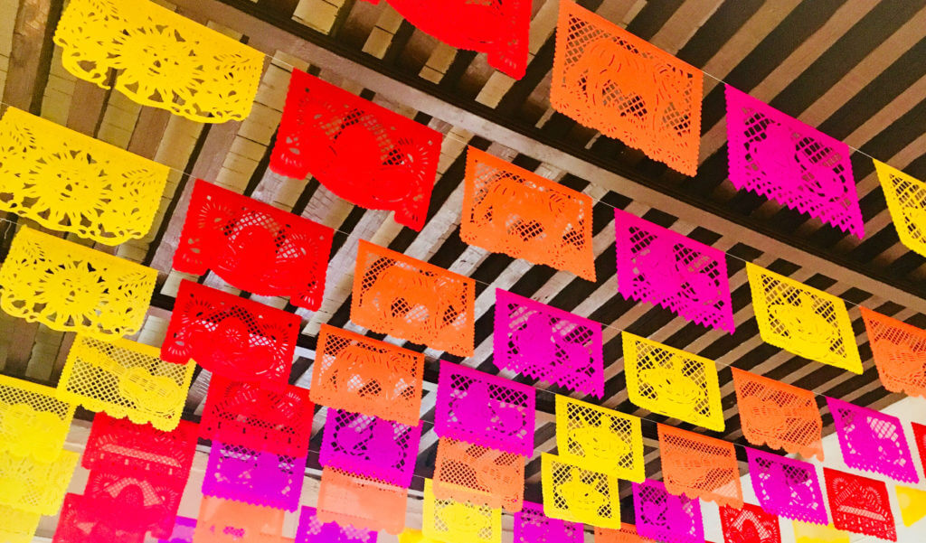 Papel picado punched paper in a cantina.