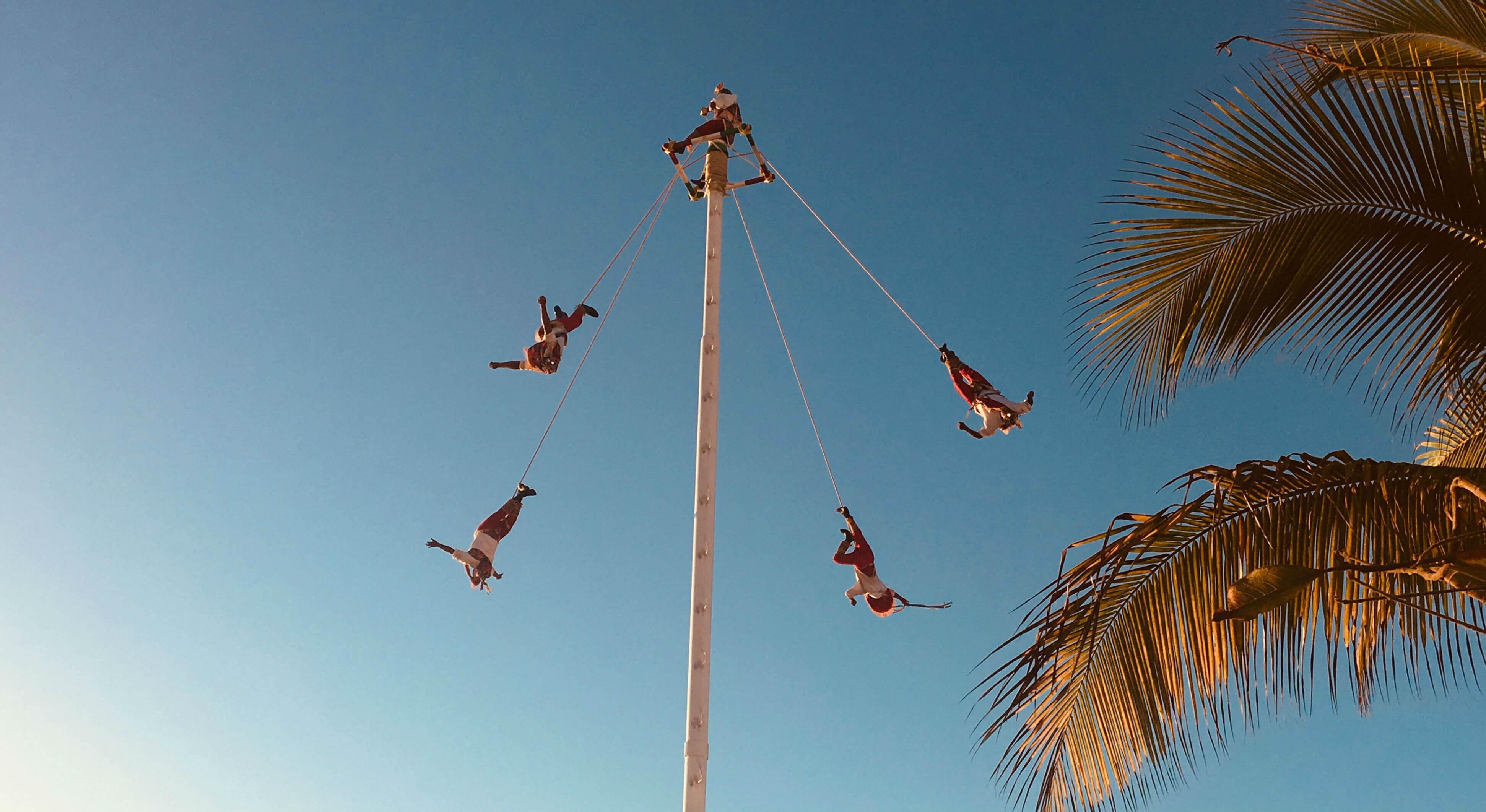The Danza de los Voladores performing in Puerto Vallarta.