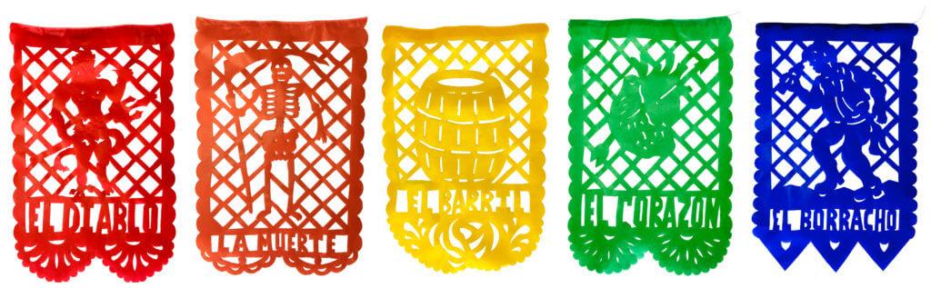 La Loteria mexican bingo banners of paper papel picado.